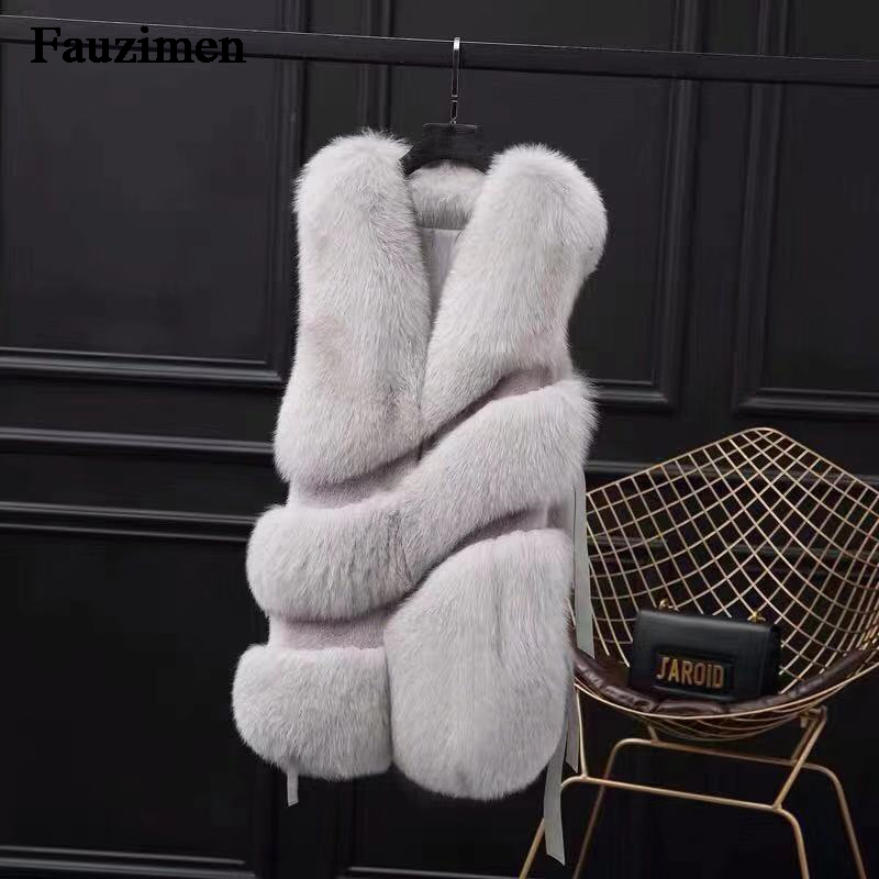 Gray Gilet Furry beige De navy light Wth Finlande Renard Hiver Épaisse Haut Fourrure Design Bandes Luxueux Gray Grade Manteau pink qTnRF
