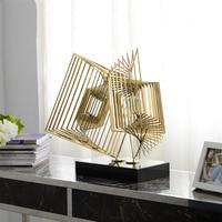 Каскадные Геометрия Скульптура с Мрамор базы фигурки Нержавеющаясталь Craft абстрактный орнамент в гостинице домашнего декора аксессуары