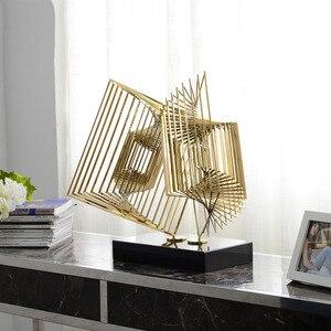 Каскадные геометрические скульптуры с мраморной базой Статуэтки из нержавеющей стали ремесло абстрактный орнамент в отеле домашний Декор ...