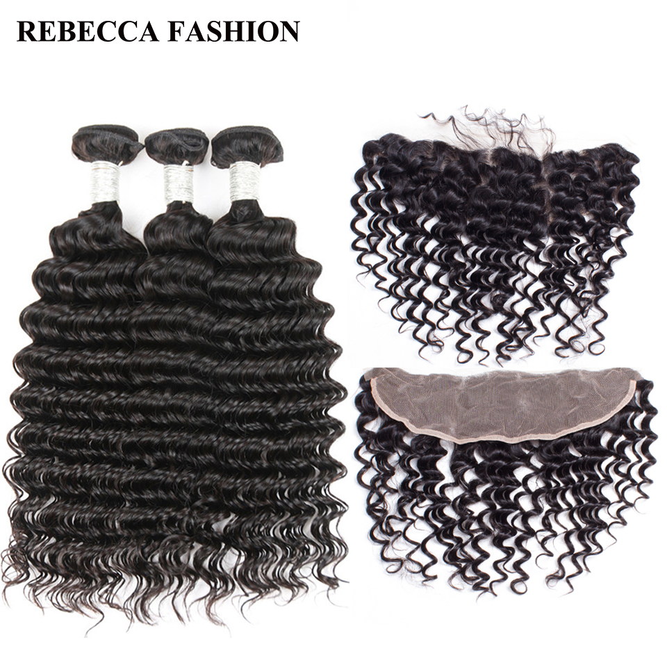 Rebecca 13x4 Lace Frontal Closure With Bundles Brazilian Deep Wave Remy Human Hair 3 Bundles With