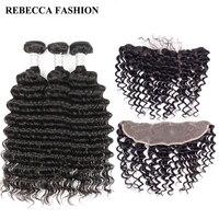 Rebecca Salon Hair 13x4 Frontal With Bundles Brazilian Deep Wave 3 Bundles Remy Human Hair Lace