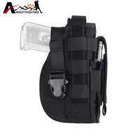 600D Tactical Molle Modular Pistol Holster For Right Handed Shooters Flashlight Pouch Combat Gun Holster For