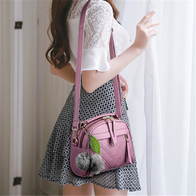 New Women Hairball Ornaments Totes Solid Leaves Handbag Hotsale Party Purse Ladies Messenger Crossbody Shoulder Bags