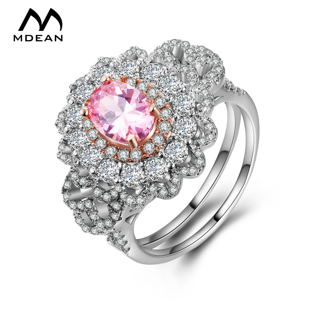 MDEAN White Gold Color Wedding Rings for Women Bijoux Engagement Ring Pink AAA Jewelry Bague Accessories Size 6 7 8 MSR805