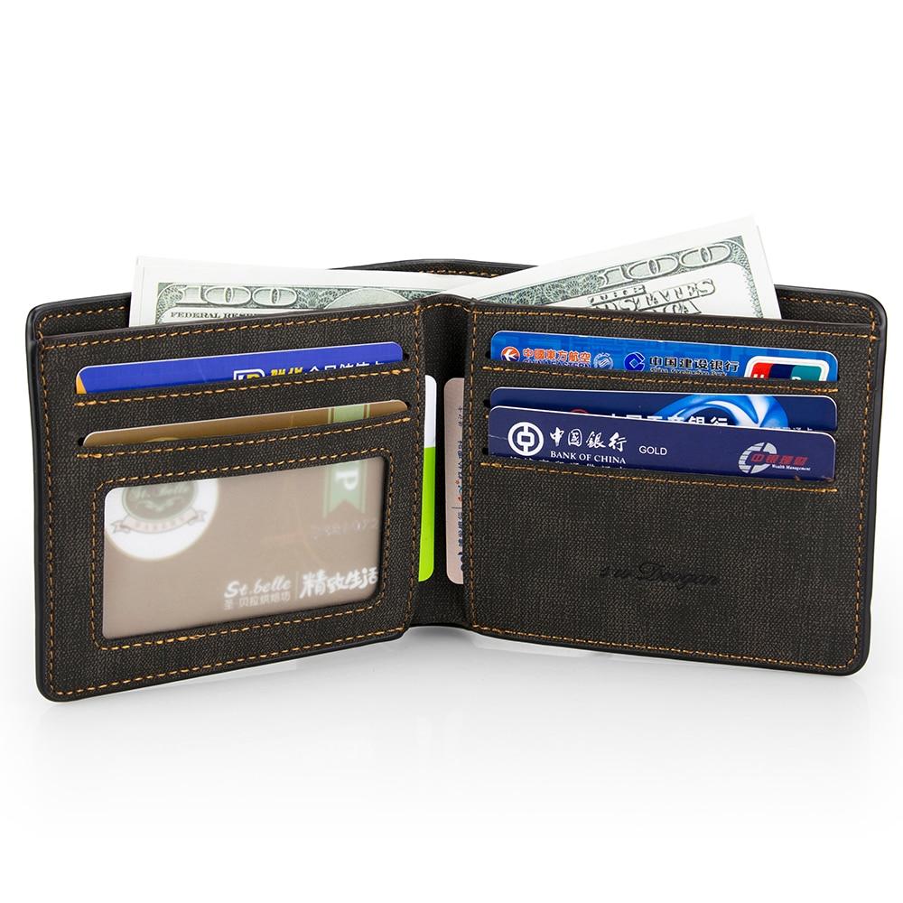 New Minimalist Man Wallet Bifold Casual Wallets Men Leather Wallet Card Holder Money Purse Black Portable Short Wallet