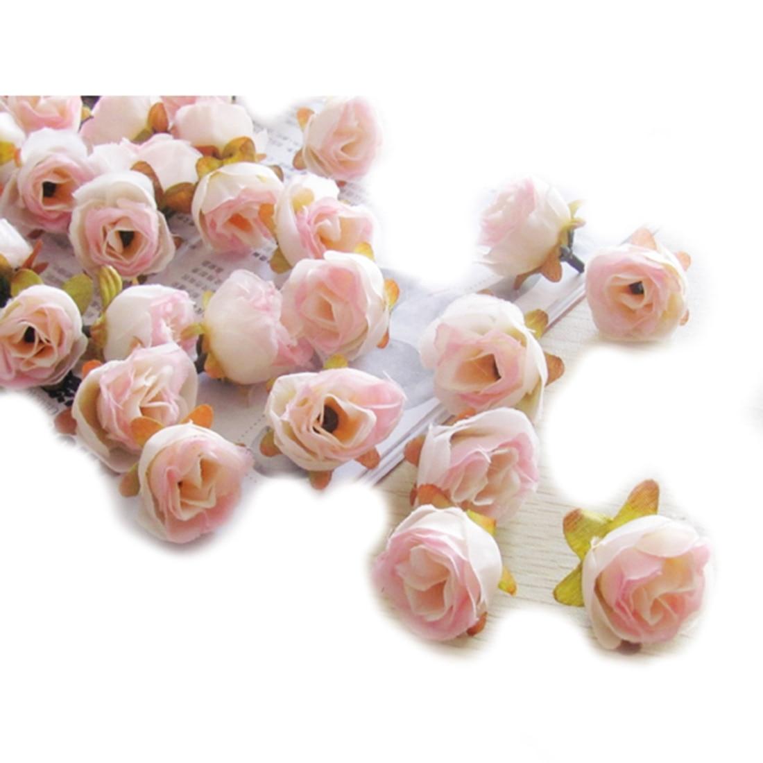 UESH-100pcs Multi Color Pequeño Té Rosa Bricolaje Rosa Flor de Seda - Para fiestas y celebraciones - foto 5