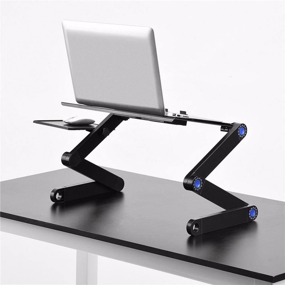 Computer Laptop Two Fan Desks Portable Adjustable Foldable Laptop Notebook Lap PC Folding Desk Table Vented Stand Bed Tray Metal sticker