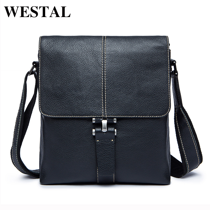 WESTAL Genuine Leather Men Bag Male Messenger Bags Men s Man Casual Shoulder Crossbody bags flap