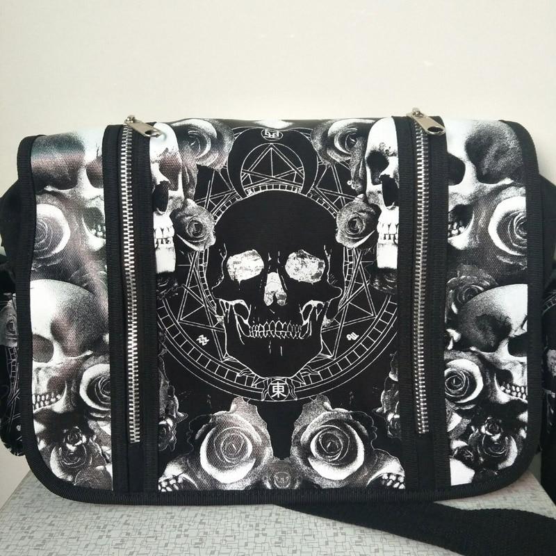 Men Women Unisex Mica Skulls Roses Black White Illuminati Gothic Waterproof Shoulder Cross Messenger School Work