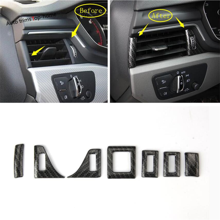 Yimaautotrims Front Air Conditioning AC Outlet Vent Cover Trim ABS For Audi A4 A5 B9 2017 2018 2019 Carbon Fiber Style