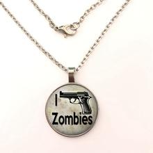 GDRGYB 2019 Zombie I Shoot Zombies, Walking Dead, Zombie Apocalypse ART necklace Shoot print glass Pendant necklace цена 2017