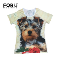 FORUDESIGNS Funny Printing 3D Animal Dog Cat Women T Shirt Cute Summer Tshirt Short Sleeve Slim