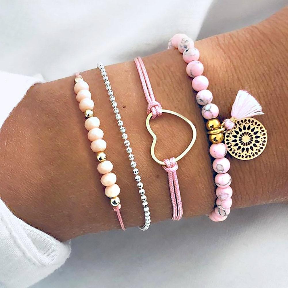 4pcs/set Women Bracelet Knitted Tassel Heart Decor Bangle Ladies Jewelry Kqs8 Charm Bracelets