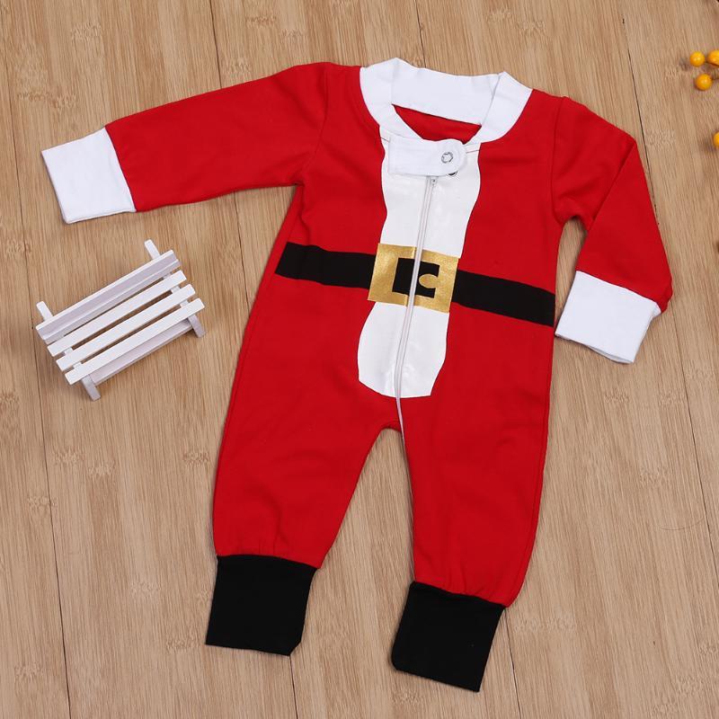 8c79cbcd43d Unisex Baby Kids Santa Clause Romper Infant Long Sleeve Zipper Jumpsuit  Baby Boys Girls Christmas Clothes