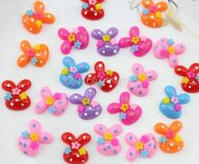 200pcs Resin Rabbit bunny little flower polka dot cabochon for Pendant Charm flatback Scrapbooking,hair clips 20mm-SZ0624 D15