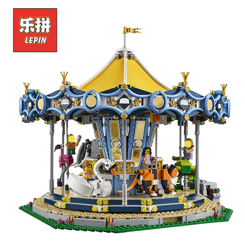 In Stock DHL Lepin Set 15036 15036B 2705Pcs City Street Figures Carousel Model Building Kits Blocks Bricks Educational Toy 10257 lepin 15036 genuine street series the new carousel diy set model building kits blocks bricks children toy hobbies christmas gift