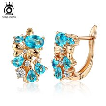 ORSA JEWELS High Quality Gold-color Women Stud Earrings Shiny AAA Blue&Red Cubic Zircon Luxury Party Earring Jewelry Gift OME60(China)