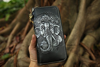 Free Shipping,japan style tanning cowhide Elephant wallet,men's zipper purse,multi functional handbag.cool gift