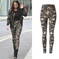 Olrain Women's High Waist Stretchy Knee Hole Ripped Beggar Camouflage Skinny Pencil Pants Casual Full Length Pants