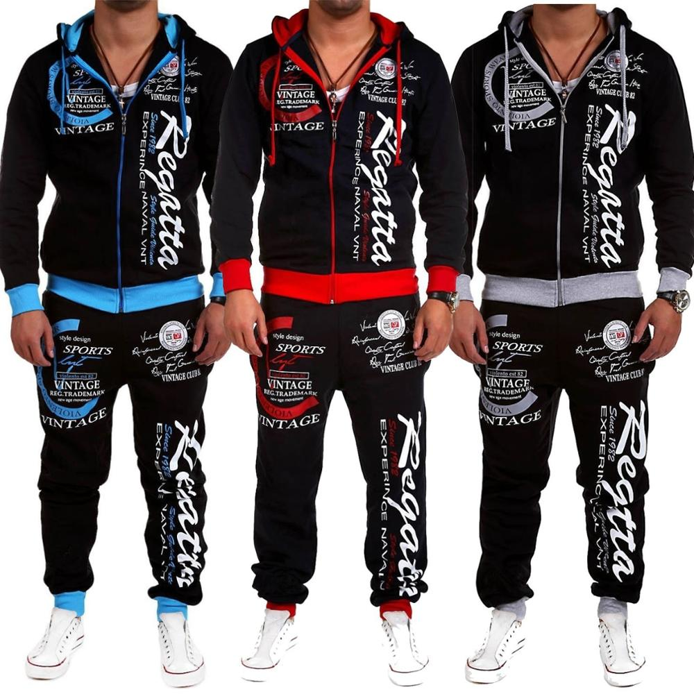 ZOGAA  2019 Men's Casual Tracksuit Two Piece Set Sportswear Elastic Waist Pants Printed Hooded Sports Set Suit 3 Colors