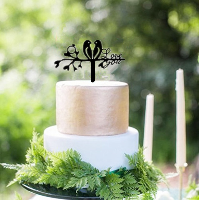 Black Acrylic Two Love Birds Cake Topper Wedding Cake Toppers ...