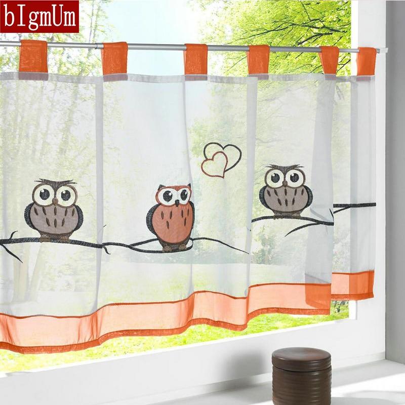 American Embroidery Half Curtain Owl/Flower Print Rural