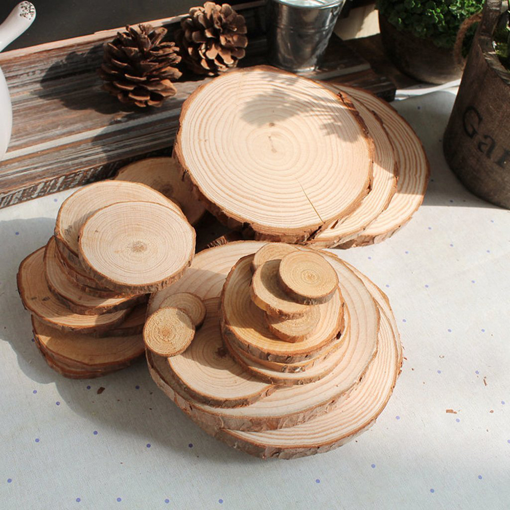 Nicexmas Wood Log Slices Discs For Diy Crafts Wedding Centerpieces Party Birthday Favors In Decorations From Home Garden On