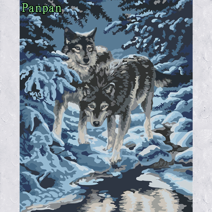 ᗕ40*50cm Snow Wolf DIY Digital Oil Painting Without Frame Coloring ...