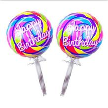 110*60cm New Imported Giant Aluminum Membrane Material Colorful Balloons Happy Birthday Lollipop Party Decoration Balloon