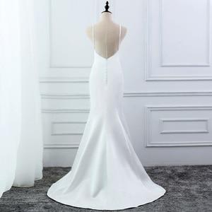 Image 3 - E JUE SHUNG beyaz basit yaz denizkızı gelinlik v yaka spagetti sapanlar Backless Boho gelinlikler robe de mariage