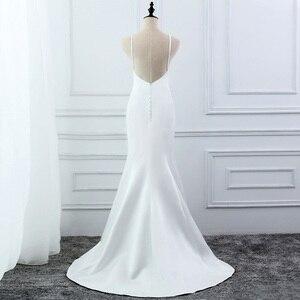 Image 3 - E 覚 SHUNG 白シンプルな夏のマーメイドウェディングドレス V ネックスパゲッティ背中自由奔放に生きるウェディングドレスローブ · デ · マリアージュ