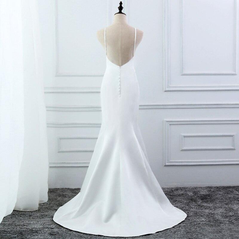Image 3 - E jue shung branco simples verão sereia vestidos de casamento v  neck cintas de espaguete backless boho vestidos de casamento robe de  mariageVestidos de Noiva