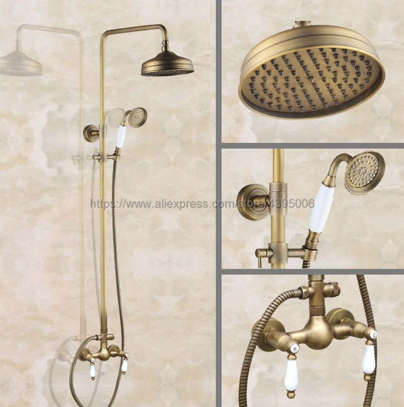 Antique Brass Bathroom 8 Rainfall Shower Faucet Set Dual Handle Bath Shower Mixer Taps Wall Mounted with Handshower Ban117 black bathroom 8 rainfall shower faucet set double handle brass bath shower mixer taps wall mounted with handshower brs705