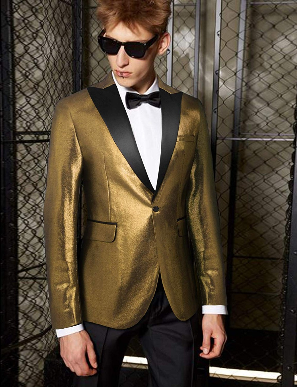 Men's Suit Fashion Suit Jacket Blazer For Weddings Prom Party Dinner Tuxedo One Pieces Jacket For Stage Wedding Shiny Costume
