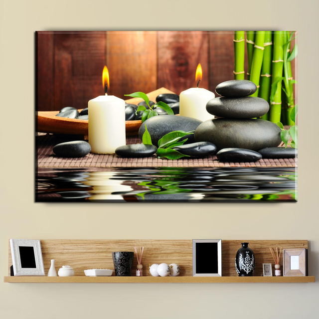 ZZ1923 New Bamboo Black Spa Zen Stone Pictures Prints On Canvas Walls Art  Work Modern Wall