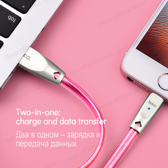 HOCO Original Zinc Alloy Jelly Knitted Charging Cable for Apple Lightning to USB Metal Charger Sync Data for iPhone iPad iPod 4