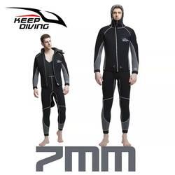 Echt 7 Mm Neopreen Wetsuit Een Stuk En Close Body Duikpak Voor Mannen Scuba Dive Surfen Snorkelen Onderwatervissers plus Size