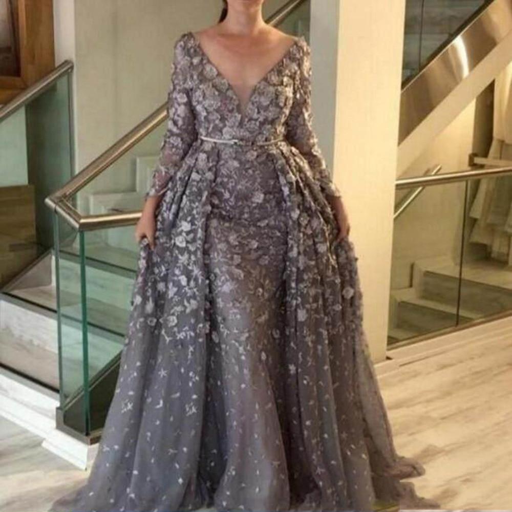 Vintage Gray 3D Flower Mermaid Evening Dresses Full Sleeves Dubai Elegant Lace Evening Gowns Detachable Train
