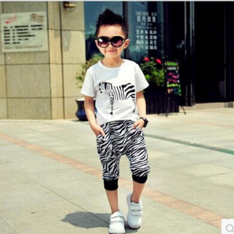 summer new children clothing set 2~7 age baby boy clothes sets cartoon zebra T-shirt+trousers cotton kids