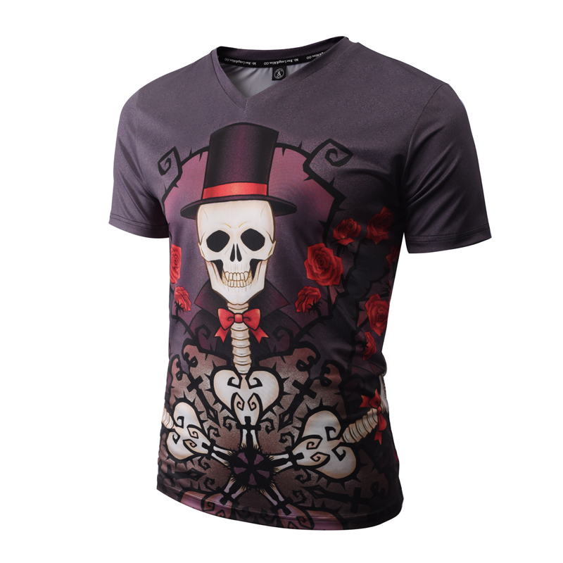 Hot Sal New Skulls T-shirt Men/Women 3d T shirt V-neck Brand Tshirt Unisex Fashion Summer Tees Print Flowers Trees T-shirts