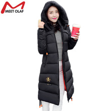 Women Winter Jacket and Coat Long Zipper Cotton-padded Parkas for Female Hooded Warm Coat and Jacket Outerwear Overcoat YL585