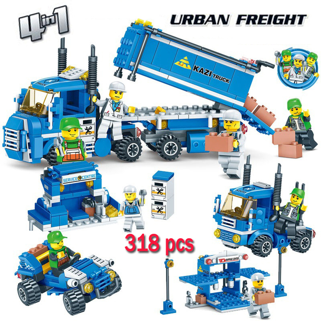 LWKO 4 IN 1 URBAN FREIGHT Building Blocks City Truck Playmobil Toy Bricks With Legoe Educational Kids Toys for Children Gift