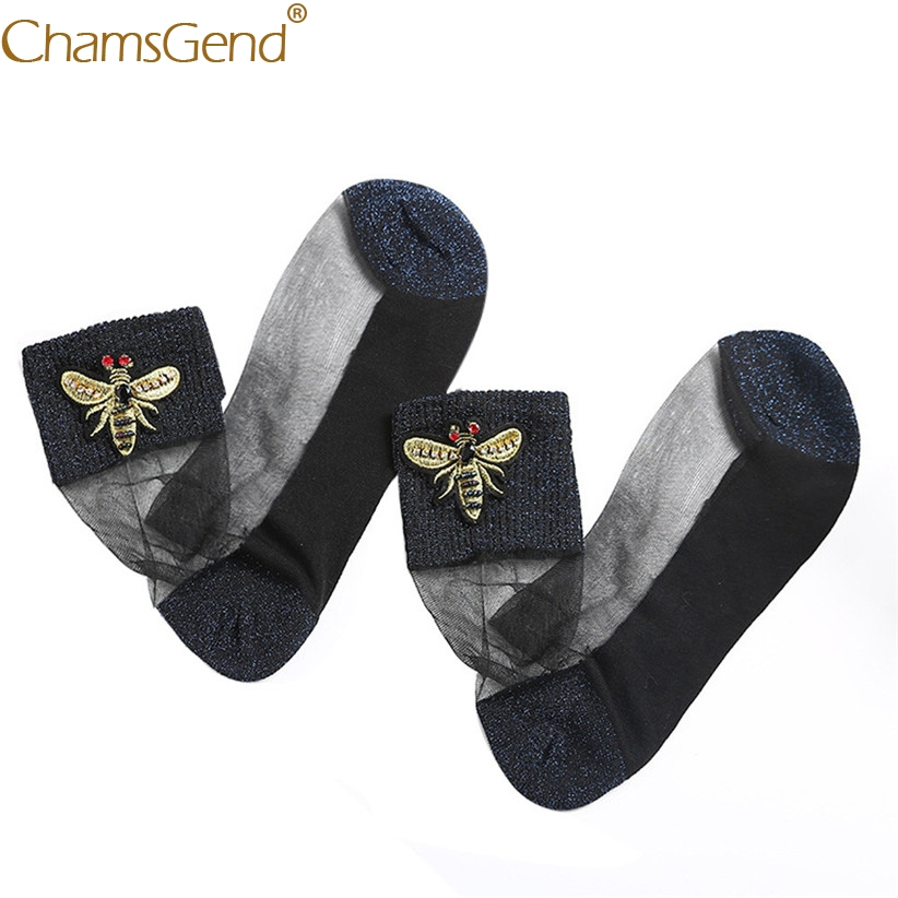 Chamsgend   Socks   Newly Design Women Girls Breathable Comfortable Ultra Thin Lace Sheer   Socks   With Bees Detailing 80307