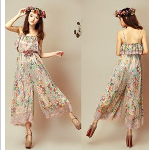 a64dcdf474107 Summer Girls' Loose Print Jumpsuits fashion high quality Chiffon Bohemian  style flowers woman's Clothing