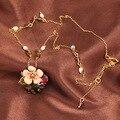 Francês Les Nereides simples bonito do pássaro da flor Gem colar pingente para mulheres marca de jóias