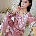 Pijama de cetim de Seda Pijamas Para As Mulheres Conjuntos de Pijama Pijamas Mulheres Pijamas Mujer Femme Pijama Sleepwear Pijama Pijama Feminino