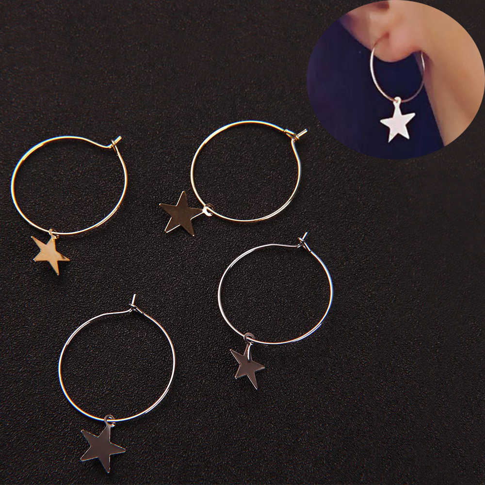 Fashion Europe and America Simple Circle Stars Geometric Hoop Earrings Trendy Minimalist Earring for Women Wedding Jewelry