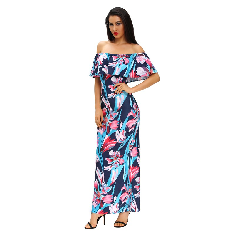 Zkess Tropical Print Dress Women Long Party Dresses 2017 Elegant Bohemia Dress Maxi Mermaid Gown Vestido de festa LC61189 7