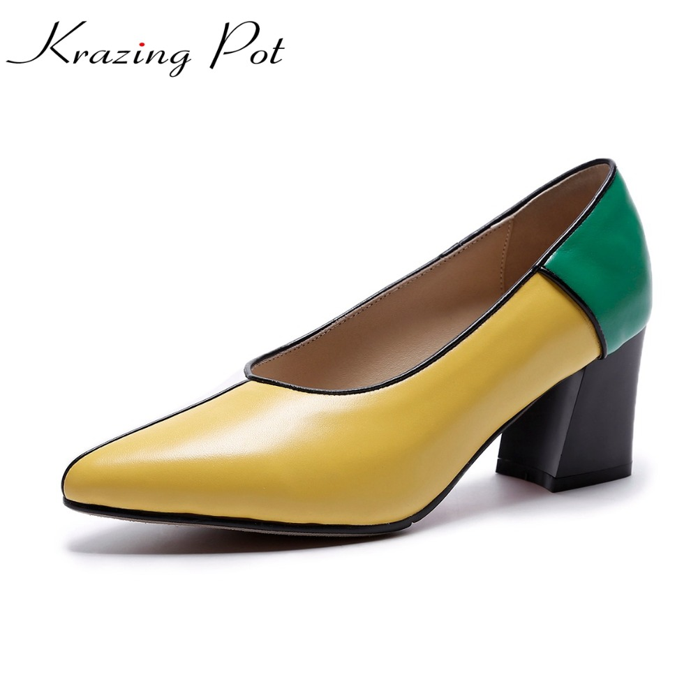 KRAZING POT classic cow leather brand shoes med heels mixed color women pumps pointed toe slip on autumn beauty party shoes L69 krazing pot 2017 fashion brand shoes patent genuine leather slip on pointed toe preppy style flower med heels women pumps l12