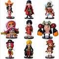 Nueva 8 cm One Piece Luffy Cero Nami Usopp Chopper Tony Nico Sanji Franky Brook 9 unids/set Acción PVC Figura Modelo de Juguete regalo